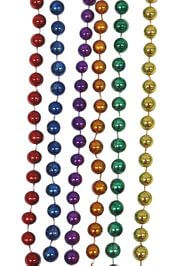 7mm 33in Round Rainbow Metallic Color Mardi Gras Beads