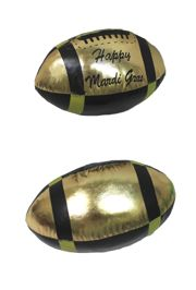 9in Long x 5in Wide Metallic Black and Gold Vinyl Footballs with Happy Mardi Gras