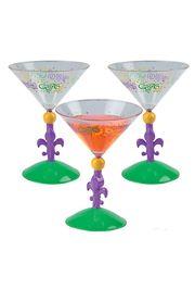 8 oz Plastic Mardi Gras Martini Glasses w/ Fleur de lis Design
