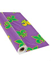 100 ft. x 40in Purple Plastic Mardi Gras Printed Banquet Roll