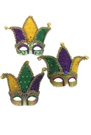 4in Tall x 3in Wide Mardi Gras Decorative Mini Jester Eye Mask with Magnet