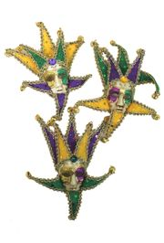 7in Tall x 5in Wide Mardi Gras Decorative Mini Jester Full Face Mask with Magnet
