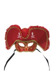 Deluxe Plastic Masquerade Masks: Red Pirate with Tricorn Hat with Skull Design