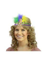 Mardi Gras Sequin Headband w/ Purple/ Green/ Gold Feathers w/ Fleur de Lis Design