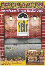4ft X 30ft Long Mardi Gras Street Backdrop Wall Decoration/ Float Decorations