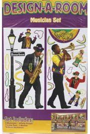 3ft x 6ft Mardi Gras Musician Set