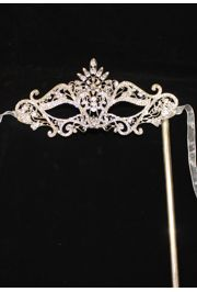 8in Wide x 4in Tall Rhinestone Silver Eye Masquerade Mask on a Stick
