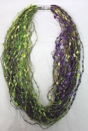 12in Long Mardi Gras Scarf/Necklace w/ Magnet Link