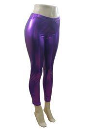 Purple Shine Metallic Leggings - Size Large