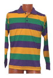 Mardi Gras Style T-Shirt W/Long Sleeve/Collar 2X Large Size