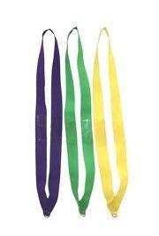 15in Long x 1in Wide Purple/ Green/ Gold Lanyard w/ Metal Ring