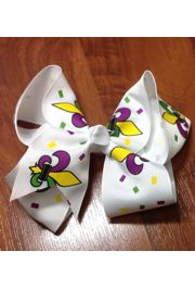 Mardi Gras Hair Bow with Fleur De Lis Design
