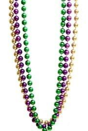 60in 12mm Metallic Round Purple/ Green/ Gold Mardi Gras Beads