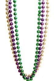 60in 12mm Metallic Round Purple/ Green/ Gold Mardi Gras Beads