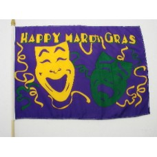 12in x 18in Mardi Gras Flag with Comedy/ Tragedy Faces Design