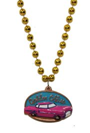33in 10mm Gold Necklace with Antique Car Medallion