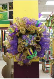 35in Mardi Gras Mesh Ribbon Wreath