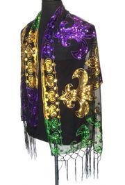 Mardi Gras Sequin Shawl/ Scarf w/ Fleur de Lis Design