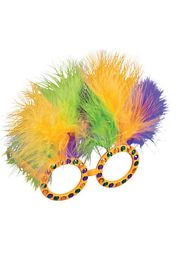 Fancy Beaded Mardi Gras Sunglasses w/ Feathers