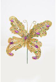6in Tall Glitter Butterfly w/ Jewels Pick