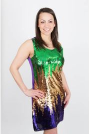 Mardi Gras Sequin Splash Party Dress Size Large