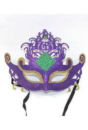 8in Tall x 9 1/2in Wide Plastic Purple Mardi Gras Mask w/ Glitter Design and Rhinestone