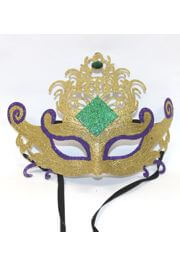 8in Tall x 9 1/2in Wide Plastic Gold Mardi Gras Mask w/ Glitter Design and Rhinestone