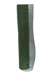 21in x 30ft Mose/ Dark Green Mesh Ribbon w/ Metallic Green Stripes