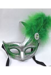 10in Tall x 6.75in Wide Fancy Plastic Mardi Gras Mask w/ Apple Green Feathers on the Side