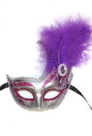 10in Tall x 6.75in Wide Fancy Plastic Mardi Gras Mask w/ Purple Feathers on the Side