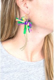 5in Long Mardi Gras Ribbon Earrings