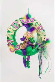16in Mardi Gras Fancy Wreath w/ Mardi Gras Doll