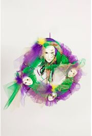 16in Mardi Gras Fancy Wreath with Dolls/ Mask Decorations