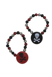7in Black/ Silver Bead Stretch Bracelet with 1.5in Round Crossbones Medallion