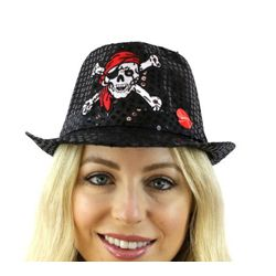 Black Sequin Light-up Hat with Skull Design and Red Bandana