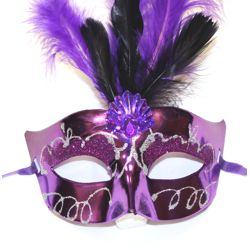 Mardi Gras Purple Feather Mask with Jewel and Silver Glitter Accents