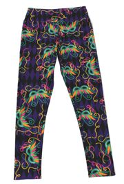Mardi Gras Carnival Leggings w/ Feather Mask Design Adults