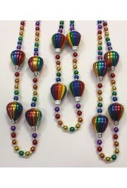 Rainbow color handstrung Mardi Gras beads with 4 hot air balloon inserts.