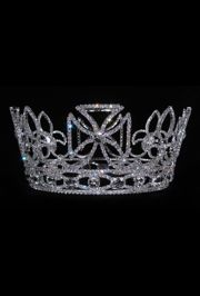 4.25in Tall x 7in Wide Silver Rhinestone Crown
