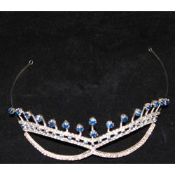 Silver Rhinestone Metal Cat Eye Mask with Blue Rhinestone Accents