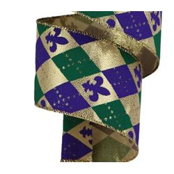 2.5in x 30ft Mardi Gras Ribbon with Argyle Fleur de Lis Design