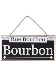 12in Wooden Sign Rue Bourbon