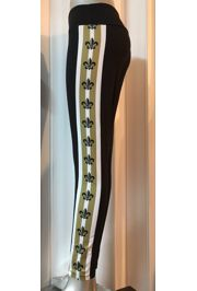 Black and Gold Leggings with Fleur de Lis Design