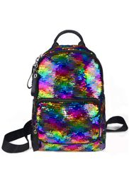 Sequin School/ Travel Mini Backpack/purse/bag in Rainbow/ Silver Colors