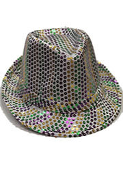 Sequined Mardi Gras Fedora Hat