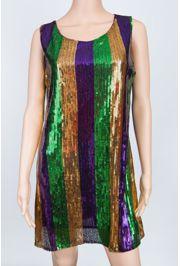 Mardi Gras Sequin Strip Dress Medium