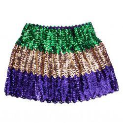 Mardi Gras Sequin Flared Skirt L/ XL