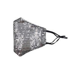Silver Colors Sequin Protective Face Masks with Filter Pocket