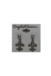 Silver Rhinestone Fleur de Lis Earrings