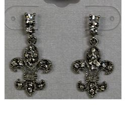 Silver Rhinestone Fleur de Lis Earrings